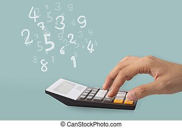 calculatrice, idée, main, concept, nombres, calculer, utilisation
