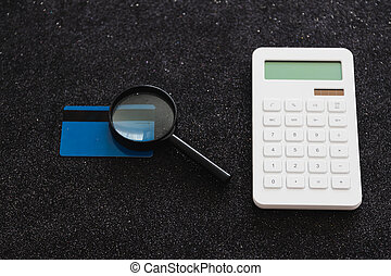 calculatrice, il, loupe, analyser, paiement, carte