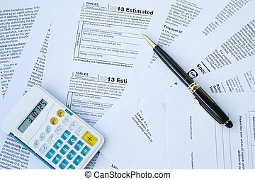 calculatrice, impôt, stylo, formulaire, s, u