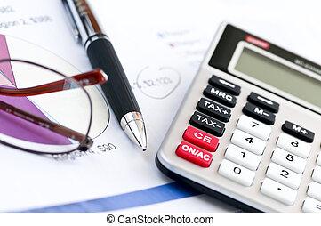 calculatrice, impôt, stylo, lunettes