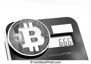 calculatrice, monnaie, bitcoin