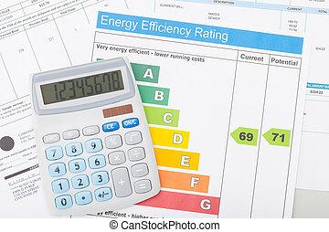 calculatrice, note, diagramme, efficacité, énergie, utilité