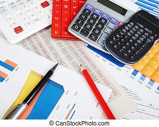 calculatrice, objects., bureau