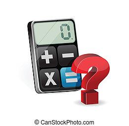 calculatrice, question, illustration, marque