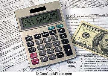 calculatrice, reform, signe, écran, impôt