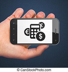 calculatrice, smartphone, publicité, concept: