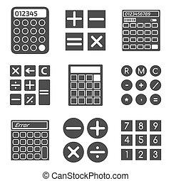 calculatrice, vecteur, ensemble, icônes