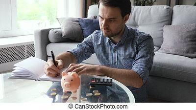calcule, dépenses, planificateur, homme, écriture, quotidiennement, bas
