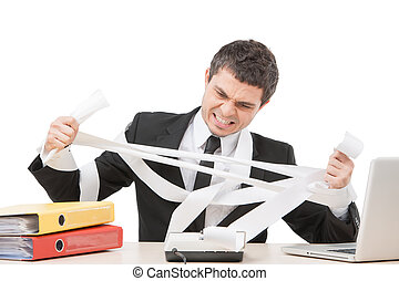 calculer, apart., séance, ouvrier, désordre, jeune, papier, bureau, homme affaires, déchirure