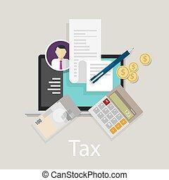 calculer, argent, taxation, impôt revenu, impôts, monnaie, payer, icône