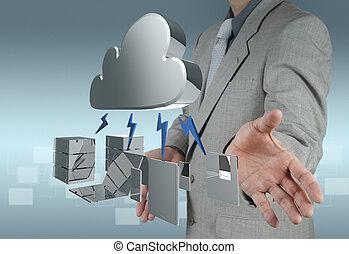 calculer, diagramme, informatique, interface, nouveau, nuage
