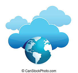 calculer, globe, nuage, illustration
