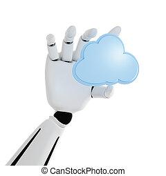 calculer, main, fond, robotique, blanc, 3d, nuage, icône