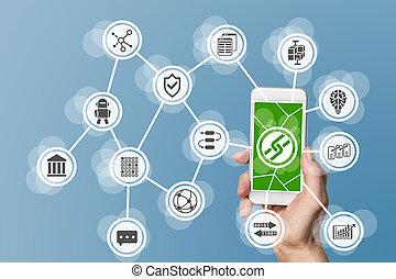 calculer, mobile, fond, blockchain