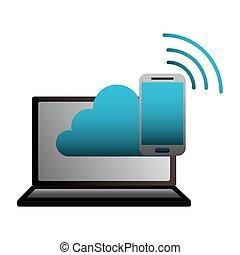 calculer, mobile, ordinateur portable, connexion, internet, nuage