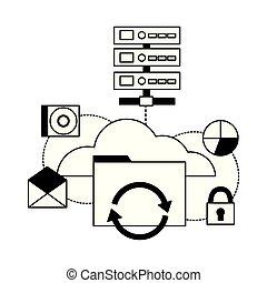 calculer, nuage, base données