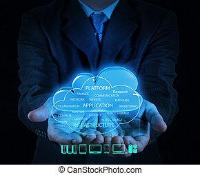 calculer, nuage, diagramme, interface, informatique, nouveau