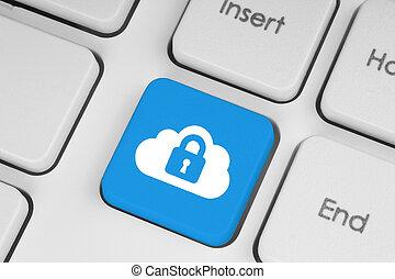 calculer, nuage, gros plan, sécurité, bleu, clavier, concept, bouton