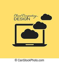 calculer, nuage, icône