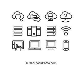 calculer, nuage, icônes