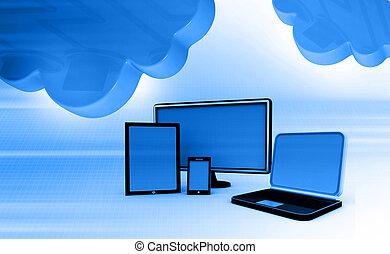 calculer, nuage, réseau
