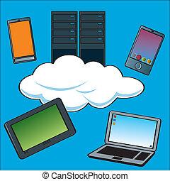 calculer, nuage, serveurs