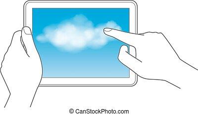 calculer, nuage, toucher, concept, tampon