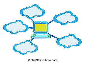 calculer, nuage, vecteur, concept
