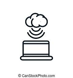 calculer, ordinateur portable, choses, icône internet, nuage, connexion, ligne