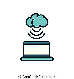 calculer, ordinateur portable, choses, icône internet, remplir, nuage, connexion, ligne