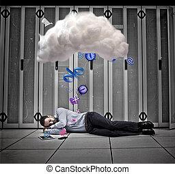 calculer, ouvrier, applications, rêver, données, nuage