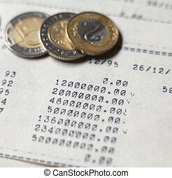 calculs, pièces., tapé machine