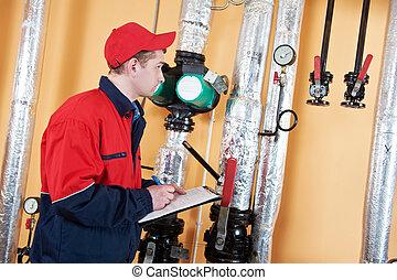 caldaia, ingegnere, riparatore, stanza, riscaldamento