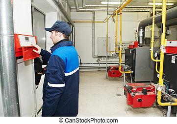 caldera, ingeniero, reparador, habitación, calefacción