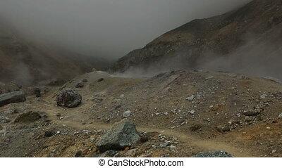 Caldera of active volcano Mutnovsky.