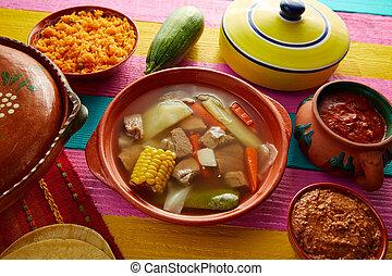 caldo, 墨西哥人, 牛肉, res, 肉湯, de, 桌子