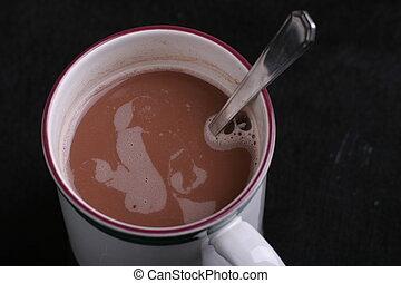 caldo, 2, cioccolato