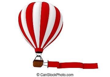caldo, 3d, balloon, colorito, aria