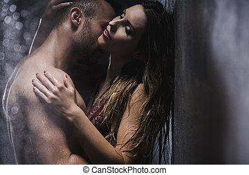 caldo, amore, sotto, doccia