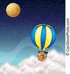 caldo, bambini, balloon, aria