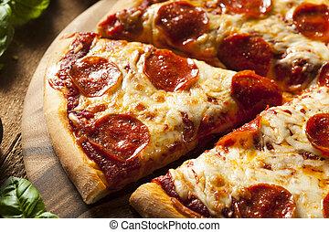 caldo, casalingo, pizza pepperoni