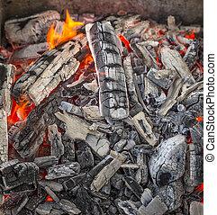 caldo, charcoal., rosso, urente