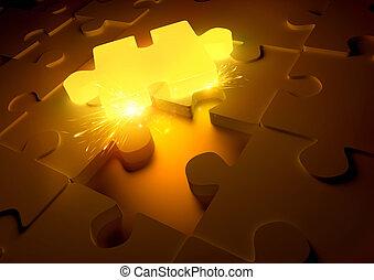 caldo, concetto, puzzle