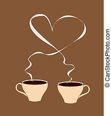 caldo, cuoriforme, caffè, vapore