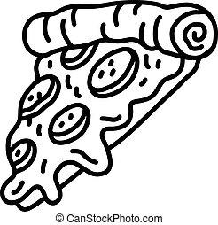 caldo, fetta, cartone animato, pizza