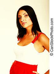 caldo, latino, vestire, donna, rosso, corto, sexy