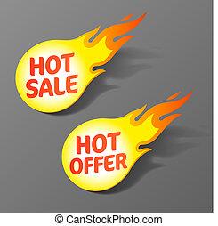 caldo, offerta, vendita, etichette