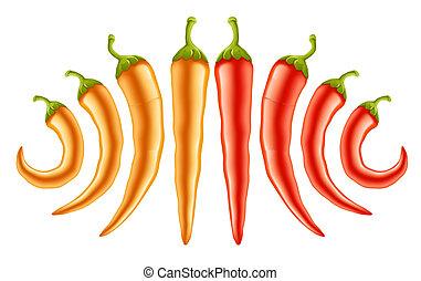 caldo rosso, e, pepe gialli