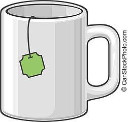 caldo, tazza, con, tè
