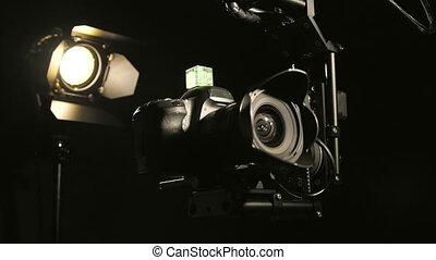 caldo, testa, macchina fotografica, su, jib, gru, azione